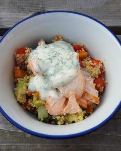 recept quinoa zalmfilet yoghurt dille gezond